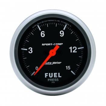 Auto Meter - Auto Meter Sport-Comp Electric Fuel Pressure Gauge - 0-15 PSI