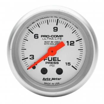 "Auto Meter - Auto Meter Mini Ultra-Lite Fuel Pressure Gauge - 2-1/16"" - 0-15 PSI"