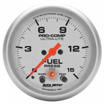 """Auto Meter - Auto Meter 2-5/8"""" Ultra-Lite Electric Fuel Pressure Gauge w/ Peak Memory & Warning - 0-15 PSI"""