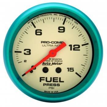 "Auto Meter - Auto Meter Ultra-Nite Fuel Pressure Gauge - 2-5/8"" - 0-15 PSI"