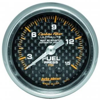 "Auto Meter - Auto Meter Carbon Fiber Fuel Pressure Gauge - 2-1/16"" - 0-15 PSI"