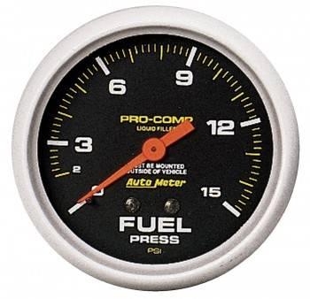 "Auto Meter - Auto Meter Pro-Comp Liquid Filled Fuel Pressure Gauge - 2-5/8"" - 0-15 PSI"