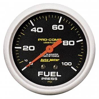 "Auto Meter - Auto Meter Pro-Comp Liquid Filled Fuel Pressure Gauge - 2-5/8"" - 0-100 PSI"