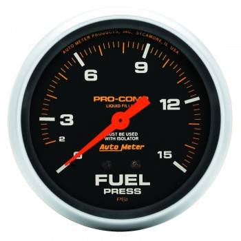 "Auto Meter - Auto Meter Pro-Comp Liquid Filled Fuel Pressure Gauge w/ Isolator - 2-5/8"" - 0-15 PSI"