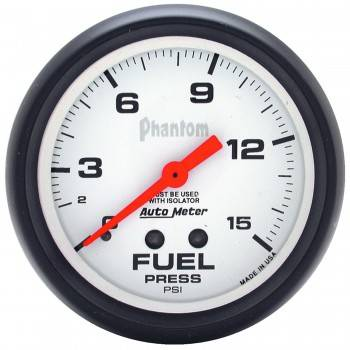 "Auto Meter - Auto Meter Phantom Fuel Pressure Gauge - 2-5/8"" w/ Isolator - 0-15 PSI"