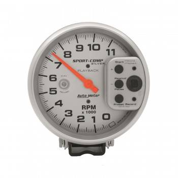 Auto Meter - Auto Meter Sport-Comp Silver Playback Tachometer - 5""