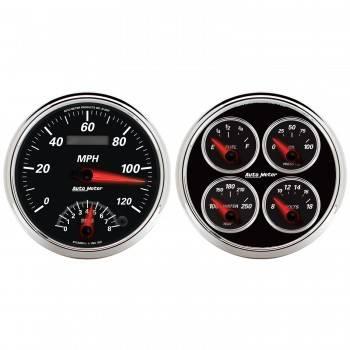 Auto Meter - Auto Meter Designer Black II Quad Gauge / Tach / Speedometer Kit - 5 in.