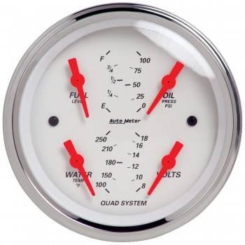 Auto Meter - Auto Meter Arctic White Quad Gauge - 3-5/8 in.