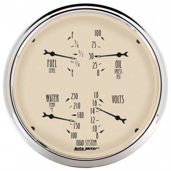 Auto Meter - Auto Meter Antique Beige Quad Gauge - 5 in.