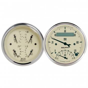 Auto Meter - Auto Meter Antique Beige Quad Gauge / Tachometer / Speedometer Kit - 3-3/8 in.