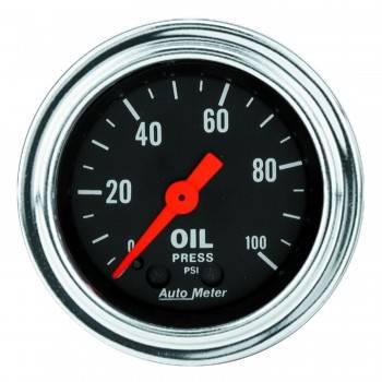 "Auto Meter - Auto Meter Traditional Chrome 2-1/16"" Oil Pressure Gauge - 0-100 PSI"