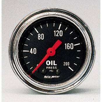 "Auto Meter - Auto Meter Traditional Chrome 2-1/16"" Oil Pressure Gauge - 0-200 PSI"
