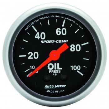 """Auto Meter - Auto Meter 2-1/16"""" Mini Sport-Comp Oil Pressure Gauge - 0-100 PSI"""