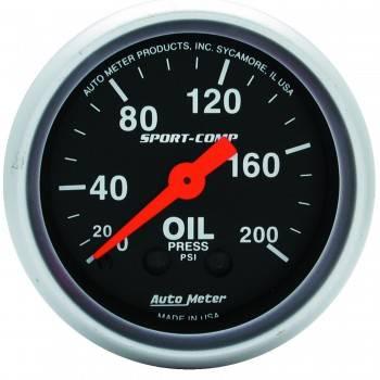 """Auto Meter - Auto Meter 2-1/16"""" Mini Sport-Comp Oil Pressure Gauge - 0-200 PSI"""
