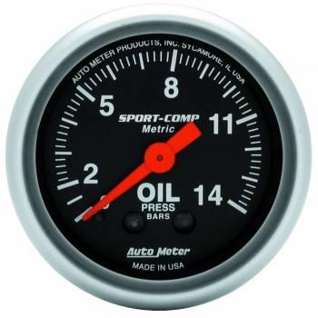"Auto Meter - Auto Meter Sport-Comp Mechanical Metric Oil Pressure Gauge - 2-1/16"""