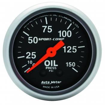 """Auto Meter - Auto Meter 2-1/16"""" Mini Sport-Comp Oil Pressure Gauge - 0-150 PSI"""