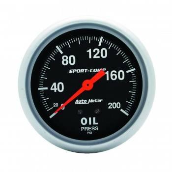 "Auto Meter - Auto Meter Sport-Comp 2-5/8"" Oil Pressure Gauge - 0-200 PSI"