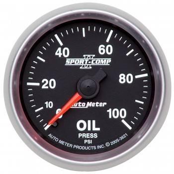 """Auto Meter - Auto Meter 2-1/16"""" Sport-Comp II Oil Pressure Gauge - 0-100 PSI"""