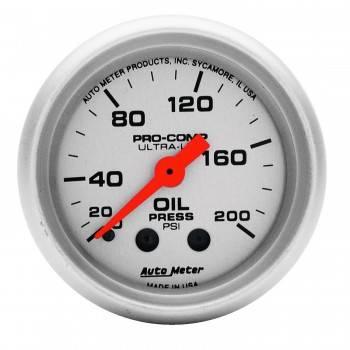 "Auto Meter - Auto Meter Mini Ultra-Lite Oil Pressure Gauge - 2-1/16"" - 0-200 PSI"