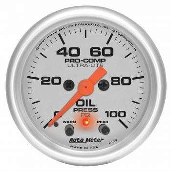 "Auto Meter - Auto Meter 2-1/16"" Ultra-Lite Electric Oil Pressure Gauge w/ Peak Memory & Warning - 0-100 PSI"