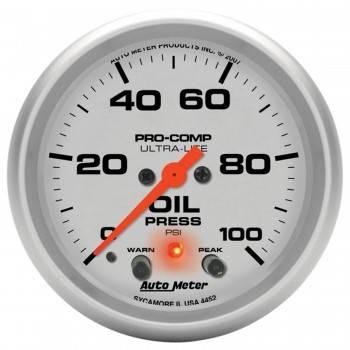 """Auto Meter - Auto Meter 2-5/8"""" Ultra-Lite Electric Oil Pressure Gauge w/ Peak Memory & Warning - 0-100 PSI"""
