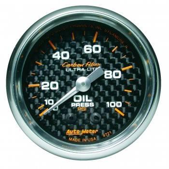 """Auto Meter - Auto Meter Carbon Fiber Oil Pressure Gauge - 2-1/16"""" - 0-100 PSI"""