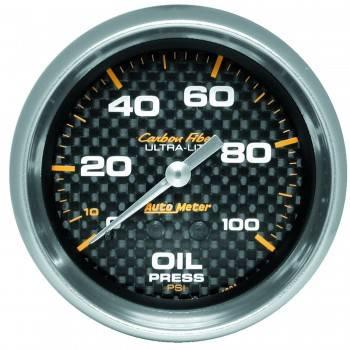 """Auto Meter - Auto Meter Carbon Fiber Oil Pressure Gauge - 2-5/8"""" - 0-100 PSI"""