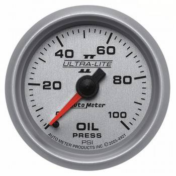 "Auto Meter - Auto Meter 2-1/16"" Ultra-Lite II Oil Pressure Gauge - 0-100 PSI"
