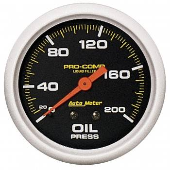 "Auto Meter - Auto Meter Pro-Comp Liquid Filled Oil Pressure Gauge - 2-5/8"" - 0-200 PSI"