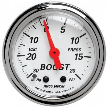 Auto Meter - Auto Meter Arctic White Mechanical Boost / Vacuum Gauge - 2-1/16 in.