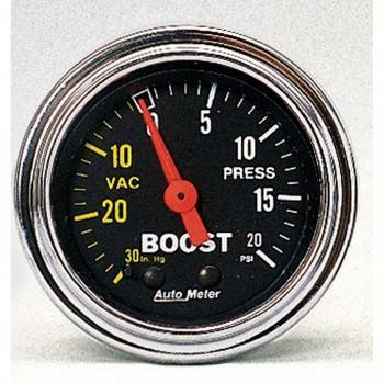 Auto Meter - Auto Meter Traditional Chrome - Mechanical Boost / Vacuum Gauge - 2-1/16 in.