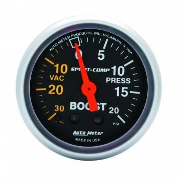 Auto Meter - Auto Meter Sport-Comp Mechanical Boost / Vacuum Gauge - 2-1/16 in.