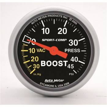 Auto Meter - Auto Meter Sport-Comp Mechanical Boost / Vacuum Gauge - 2-1/16 in.