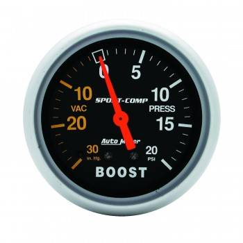 Auto Meter - Auto Meter Sport-Comp Mechanical Boost / Vacuum Gauge - 2-5/8 in.