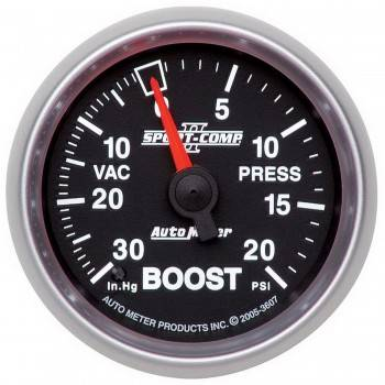 Auto Meter - Auto Meter Sport-Comp II Mechanical Boost / Vacuum Gauge - 2-1/16 in.