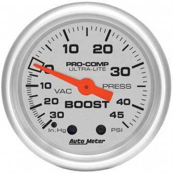 Auto Meter - Auto Meter Ultra-Lite Mechanical Boost / Vacuum Gauge - 2-1/16 in.