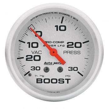 Auto Meter - Auto Meter Silver Pro-Comp Boost/Vacuum Gauge - 2-5/8 in.