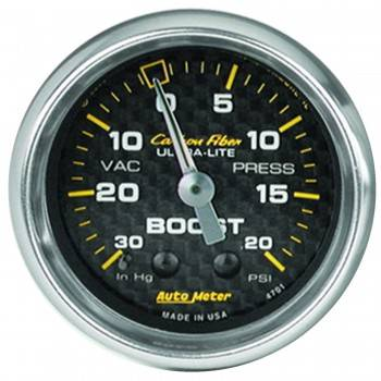 Auto Meter - Auto Meter Carbon Fiber Mechanical Boost / Vacuum Gauge - 2-1/16 in.