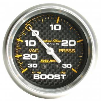 Auto Meter - Auto Meter Carbon Fiber Mechanical Boost / Vacuum Gauge - 2-5/8 in.