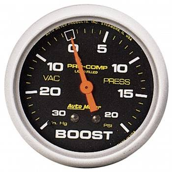 Auto Meter - Auto Meter Pro-Comp Liquid-Filled Mechanical Vacuum/Boost Gauge - 2-5/8 in.