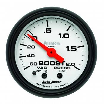 Auto Meter - Auto Meter Phantom Mechanical Boost / Vacuum Gauge - 2-1/16 in.