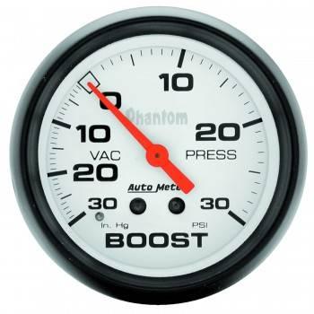 Auto Meter - Auto Meter Phantom Mechanical Boost / Vacuum Gauge - 2-5/8 in.