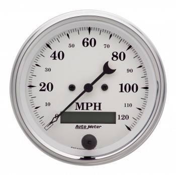 Auto Meter - Auto Meter Old Tyme White Electric Programmable Speedometer - 3-3/8 in.