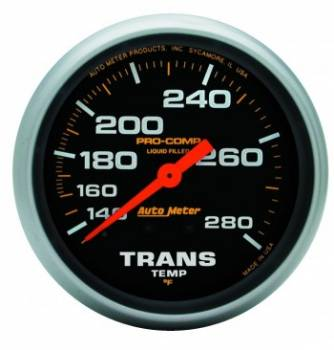 "Auto Meter - Auto Meter Pro-Comp Liquid Filled Transmission Temperature Gauge - 2-5/8"" - 140°-280°"