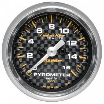 Auto Meter - Auto Meter Carbon Fiber Electric Pyrometer Gauge Kit - 2-1/16 in.