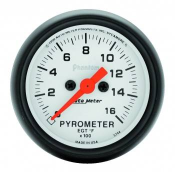 "Auto Meter - Auto Meter Phantom Exhaust Gas Temperature Pyrometer Gauge - 2-1/16"" - 0-1600° F"
