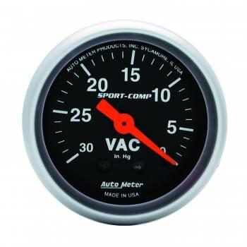 """Auto Meter - Auto Meter Sport-Comp Mechanical Vacuum Gauge - 2-1/16"""""""