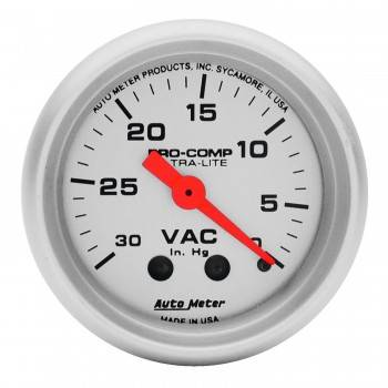 Auto Meter - Auto Meter Ultra-Lite Mechanical Vacuum Gauge - 2-1/16""