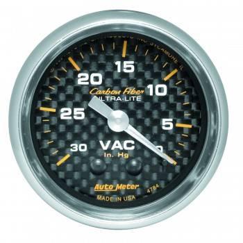 "Auto Meter - Auto Meter Carbon Fiber Mechanical Vacuum Gauge - 2-1/16"""