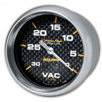 "Auto Meter - Auto Meter Carbon Fiber Mechanical Vacuum Gauge - 2-5/8"""